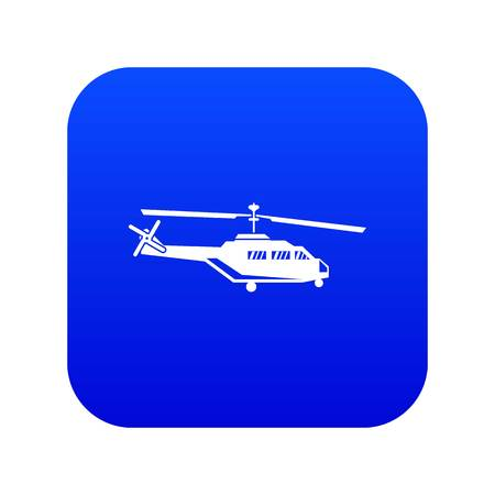 Military helicopter icon digital blue for any design isolated on white vector illustration