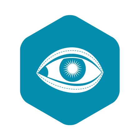 Plastic surgery of eye icon. Simple illustration of plastic surgery of eye vector icon for web Stok Fotoğraf - 130236421