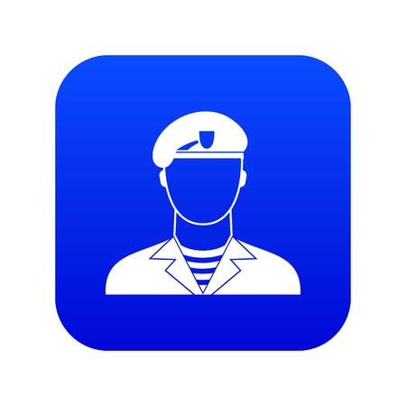 Modern army soldier icon digital blue Ilustracja