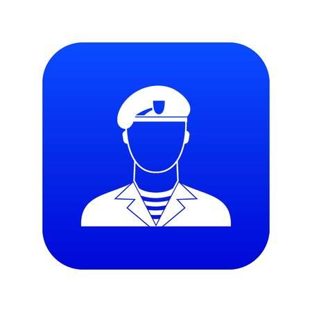 Modern army soldier icon digital blue Illustration