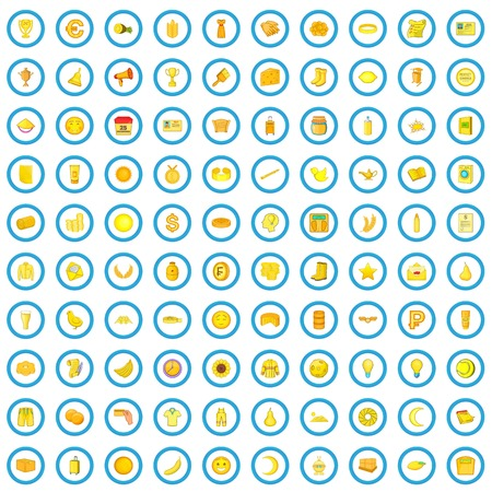 100 yellow icons set in cartoon style for any design vector illustration Illustration
