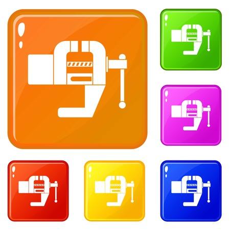 Vise tool icons set vector color