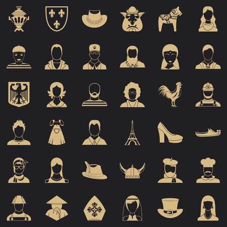 Ensemble d'icônes d'avatar, style simple
