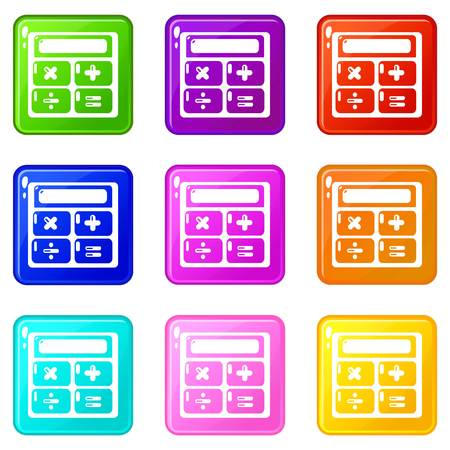 Calculator icons set 9 color collection 矢量图像