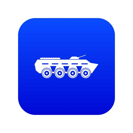 Army battle tank icon digital blue for any design isolated on white vector illustration