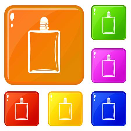 Bottle of female perfume icons set collection vector 6 color isolated on white background
