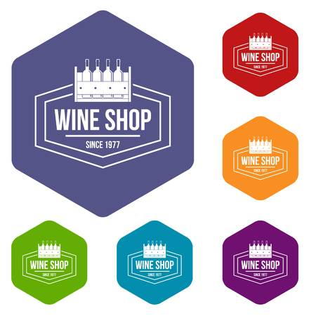Wine shop icons vector hexahedron