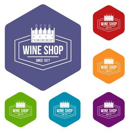 Wine shop icons vector hexahedron