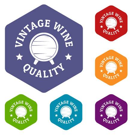 Vintage wine icons vector hexahedron