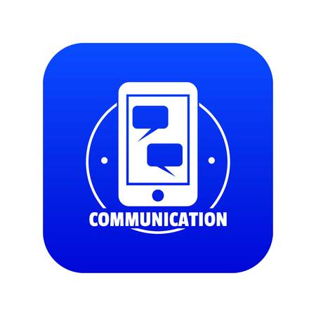 Communication phone icon blue vector