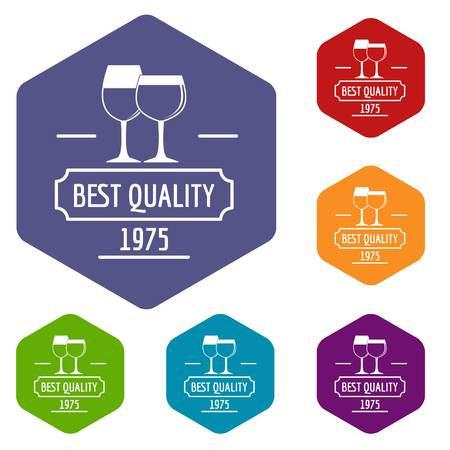 Wineglass icons vector hexahedron