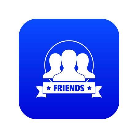Friends icon blue vector