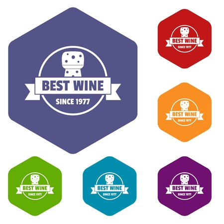 Best wine icons vector hexahedron