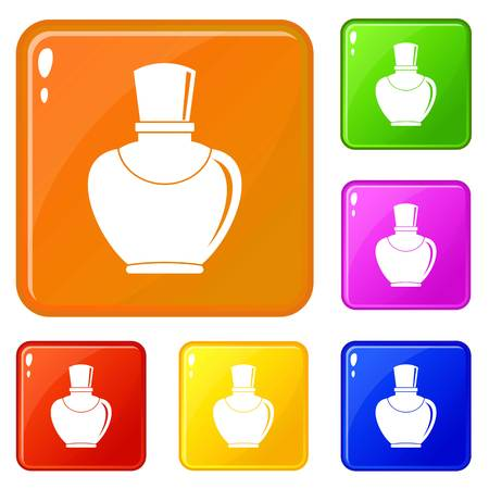 Glass bottle with perfume icons set collection vector 6 color isolated on white background Illustration