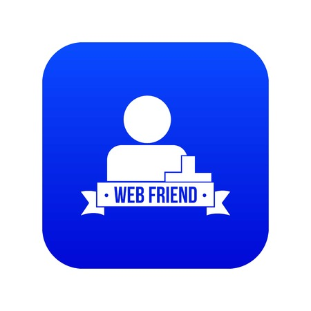 Web friends icon blue vector