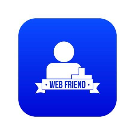 Web friends icon blue vector Archivio Fotografico - 122831421
