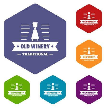 Old winery icons vector hexahedron