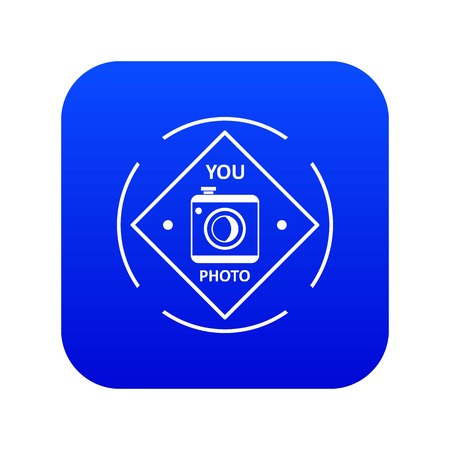 Camera icon blue vector Çizim