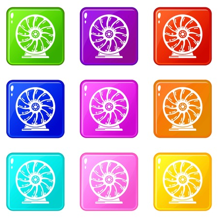 Perpetuum mobile icons set 9 color collection