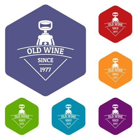 Restaurant wine icons vector hexahedron