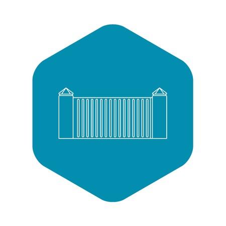 Stone fence icon, outline style Illustration