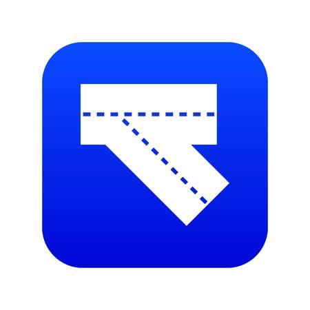 Turn road icon digital blue