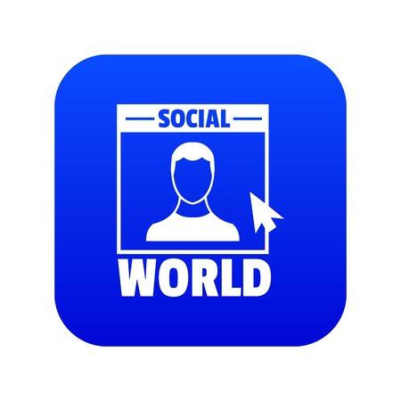 Social world icon blue vector