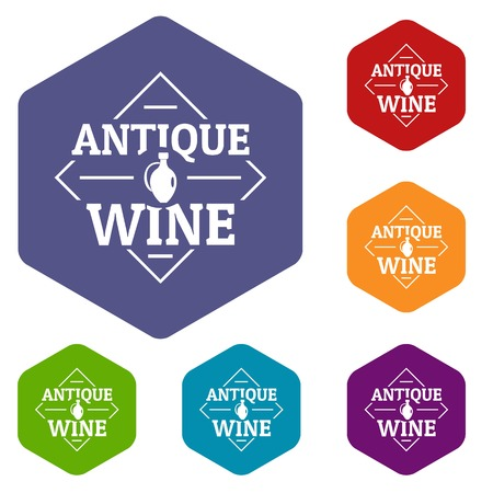 Antique wine icons vector hexahedron