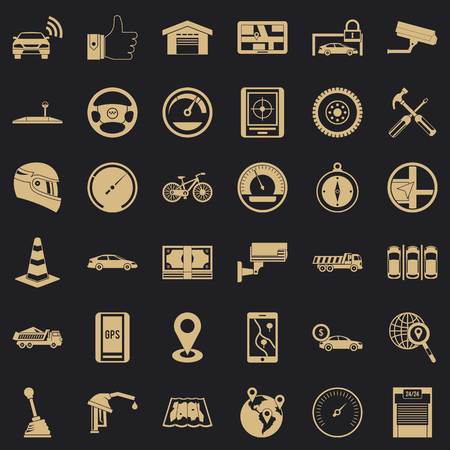 Automotive icons set, simple style