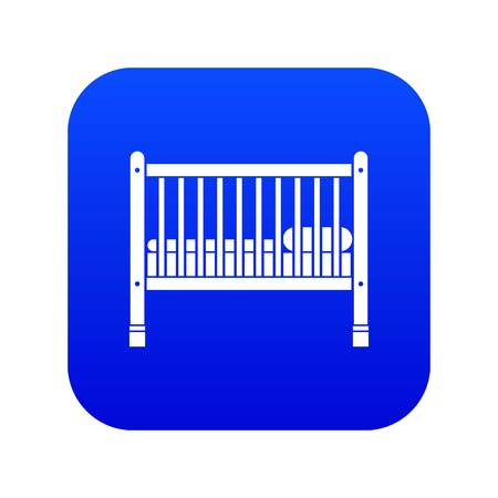 Baby bed icon digital blue for any design isolated on white vector illustration