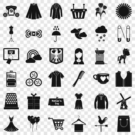 Fashion dress icons set, simple style