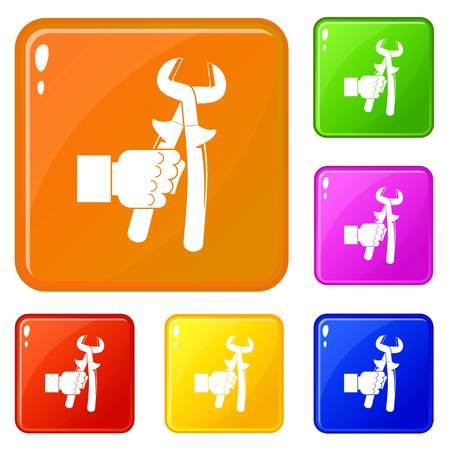 Hand holdimg calipers icons set collection vector 6 color isolated on white background
