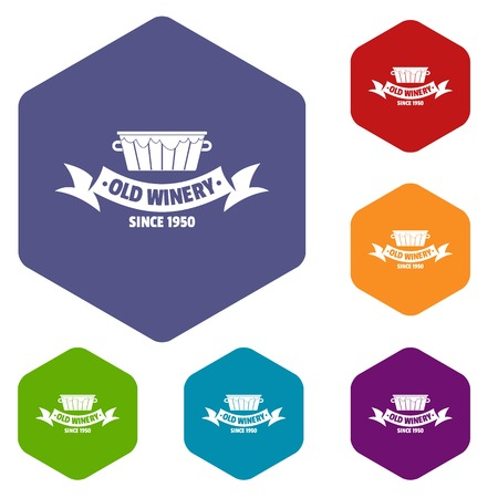 Factory winery icons vector hexahedron