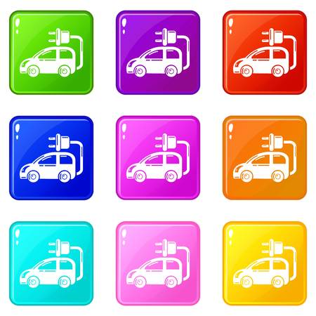Electric car icons set 9 color collection