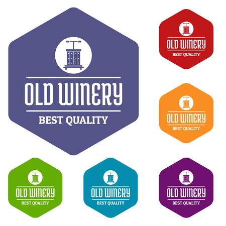 Quality old winery icons vector hexahedron Illustration