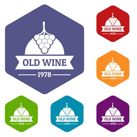 Wine natural icons vector hexahedron Illustration