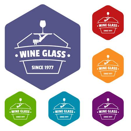 Wine glass icons vector hexahedron