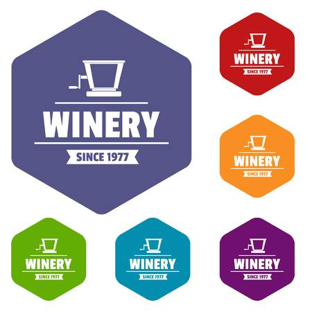 Factory old winery icons vector hexahedron
