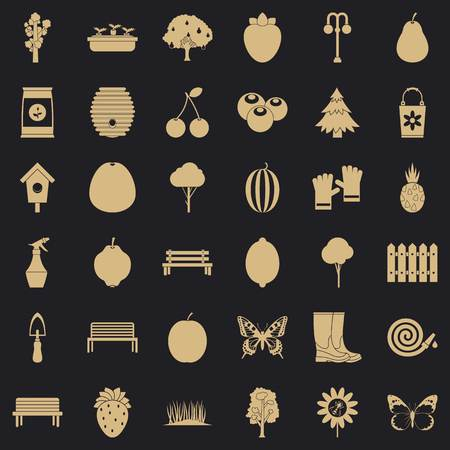 Gardening tool icons set, simple style Vettoriali