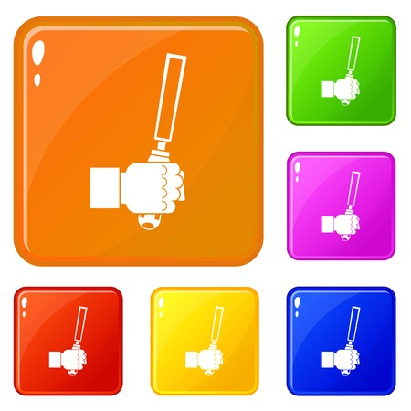Chisel tool in man hend icons set vector color Ilustrace