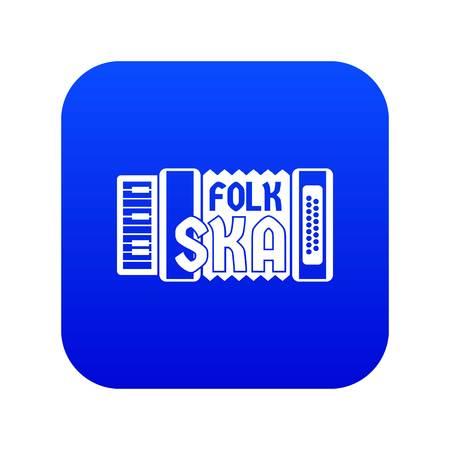 Accordion icon blue vector