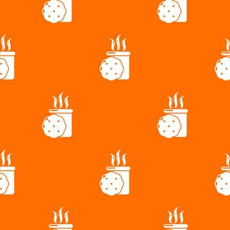 Tea and biscuit pattern vector orange