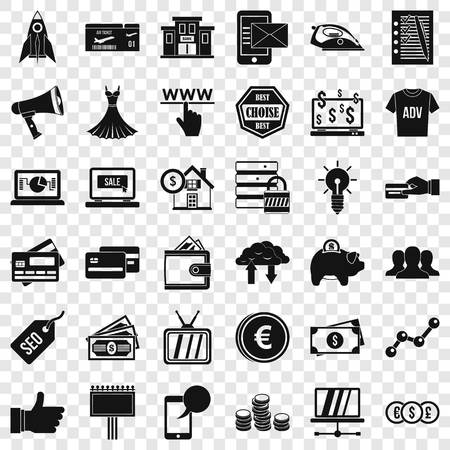 Online buying icons set, simple style