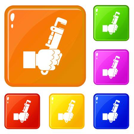 Hacksaw in man hand icons set collection vector 6 color isolated on white background