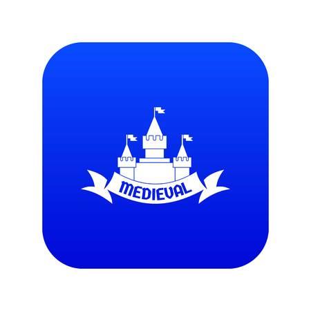 Castle icon blue vector