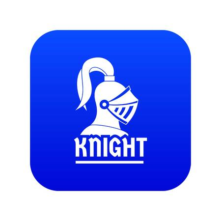 Knight helmet icon blue vector