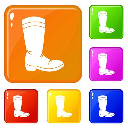 Cowboy boot icons set collection vector 6 color isolated on white background