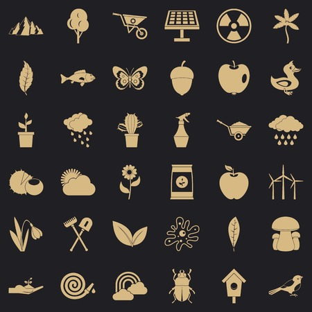 Grass icons set, simple style Illustration