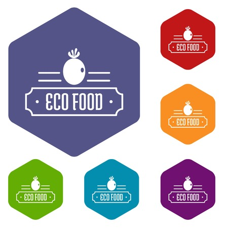 Eco food icons vector hexahedron Ilustracja