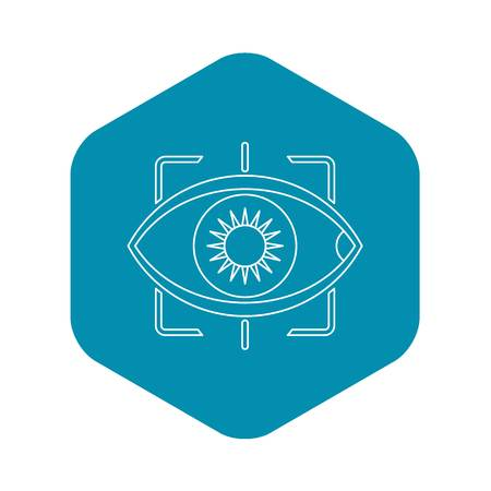 Eye with integrated camera lens icon. Outline illustration of eye with integrated camera lens vector icon for web